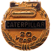 Vintage 20 Year CATERPILLAR Company Anniversary 10K Yellow Gold Tie Tac Pin