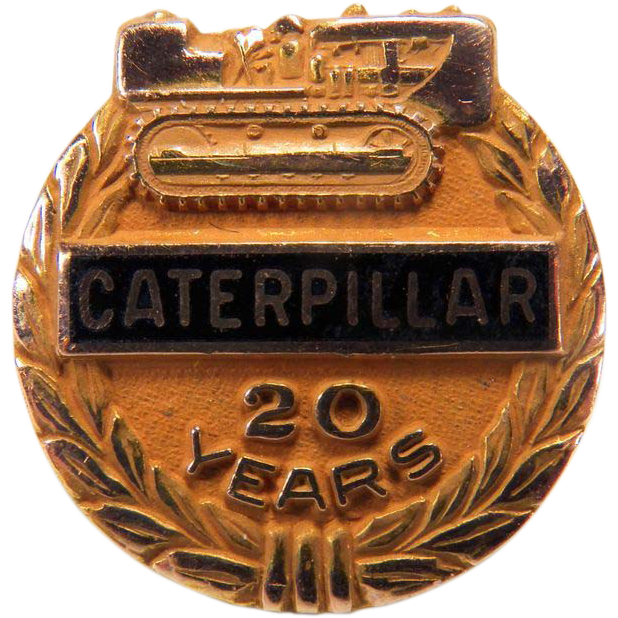 Vintage 20 Year CATERPILLAR Company Anniversary 10K Yellow Gold Tie Tac Pin