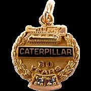 Vintage 30 Year CATERPILLAR Company Anniversary 10K Yellow Gold Pendant