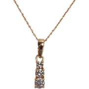 Sparkling 0.47 Carat Three Diamond 14K Yellow Gold Necklace