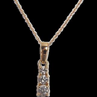 Sparkling 0.47 Carat Three Diamond 14K Yellow Gold Necklace
