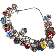 Vintage Silver (800) Enamel European Country Shields Travel Charm Bracelet - 25 Charms