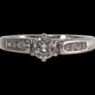 0.37 Carat Diamond 14 White Gold Engagement Ring