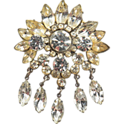 Vintage Tiered Clear Rhinestone Dangle Brooch