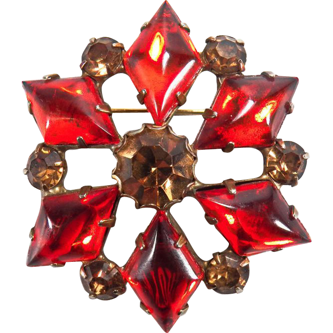 Lovely Sparkling Vintage Brown and Orange Rhinestone Brooch