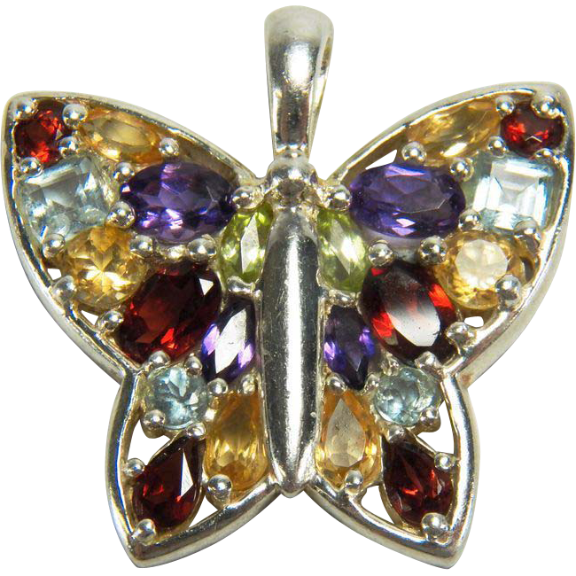 Sterling Silver Vintage Multiple Gemstone Butterfly Pendant