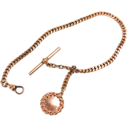 Vitnage Heavy Yellow Gold Filled Watch Fob and Chain