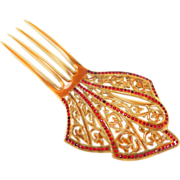 Sparkling Art Deco Red Rhinestone Amber Celluloid Hair Comb