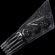 Large Asymmetric Design Art Deco Jet Black Mantilla Style Celluloid Hair Comb Accessory