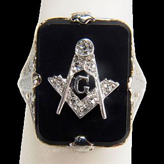 Art Deco Mason Onyx and Old Mine Cut Diamond 18K White Gold Ring
