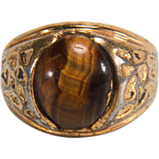 Vintage 14K Yellow Gold Plated Tigers Eye Ring