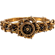 Victorian Revival Gold Toned Black Rhinestone Bangle Bracelet
