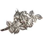 UNGER BROTHERS Fine Art Nouveau Sterling Silver Large Rose Brooch/Pin