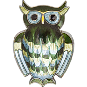 Vintage Signed David Andersen Enamel Sterling Silver Owl Brooch Pin