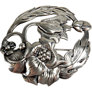 Vintage Sterling Floral Sterling Silver Round Brooch Pin