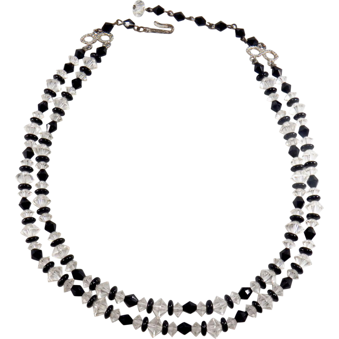 Signed LAGUNA Black and Clear Beaded Double Strand Necklace