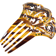 Art Deco Etched and Painted Detailed Green and White Rhinestone Faux Tortoise Shell Celluloid Hair Comb
