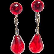 Flashy Vintage Burnt Orange Red Dangle Drop Style Screw Back Style Beaded Earrings