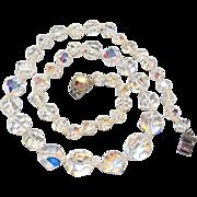 Vintage Graduated Aurora Borealis Beaded Necklace