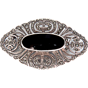 Sparkling Marcasite Sterling Silver and Onyx Vintage Pin/Brooch