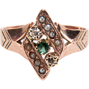 Victorian Diamond, Seed Pearl, and Green Stone Etched 10K Yellow Gold Ring