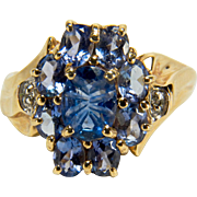 Sparkling Vintage Blue Topaz, Diamond, and Amethyst Glass 10K Yellow Gold Samuel Aaron Ring
