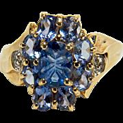 Sparkling Vintage Blue Topaz, Diamond, and Amethyst Glass 10K Yellow Gold Samuel Aaron Ring