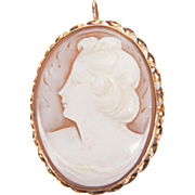 Vintage 1950s 10K Yellow Gold Conch Shell Cameo Pin / Pendant