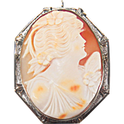 Artist Signed Art Deco Filigree Natural Conch Cameo 14K White Gold Pin / Pendant