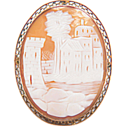 Vintage Castle Scenery Carved Shell Cameo 10K Yellow Gold Filigree Pin/Pendant