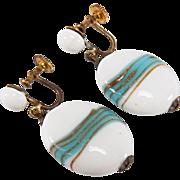 Vintage Japan Art Glass Bead Screw Back Style Dangle Earrings