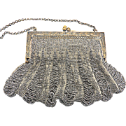 Edwardian Cut Steel Beaded Silver Purse