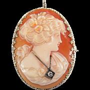 Art Deco En Habille Diamond 14K White Gold Filigree Cameo Pin / Pendant