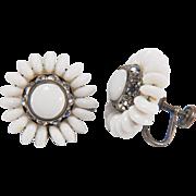 West Germany Vintage Milk Glass Beaded and Rhinestone Silver Toned Screw Back Mechanism Earrings
