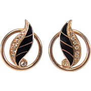 Vintage Black Enamel and White Rhinestone Gold Toned Screw back Style Earrings