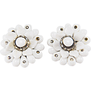 Vintage 1940s Western Germany Milk Glass and Rhinestone Clip Style Earrings