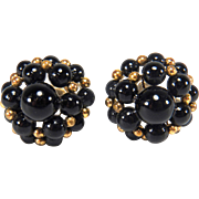 Vintage Black and Gold Beaded Gold toned Screw Back Style Earrings