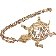 Cool Large Gold Toned Turtle Pendant Necklace