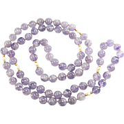 Vintage Amethyst, Pearl, 14K Yellow Gold Beaded Necklace