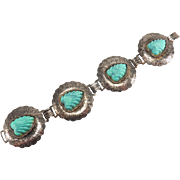Vintage Faux Carved Turquoise Silver Tone Bracelet