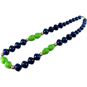 Vintage 1960s Classic Bright and Bold Chunky Navy and Green Plastic Beaded Necklace