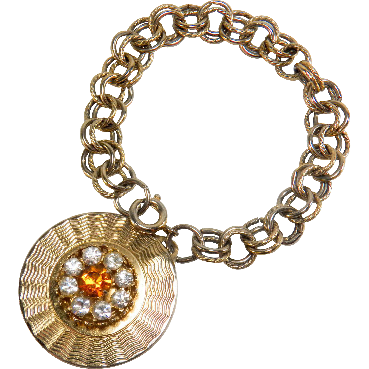 Vintage Signed Coro Jewelled Rhinestone Medallion Pendant Charm Double Link Yellow Gold Toned Bracelet