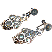 Vintage Mexico Sterling Silver Handmade Screwback Style Inlay Abolone Dangle Style Earrings