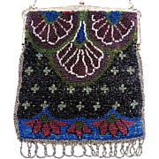 Art Deco Floral Pattern Beaded Purse