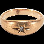 Antique Victorian Baby Diamond 14K Yellow Gold Ring