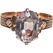 Victorian 10K Rose Gold Amethyst Detailed Ring