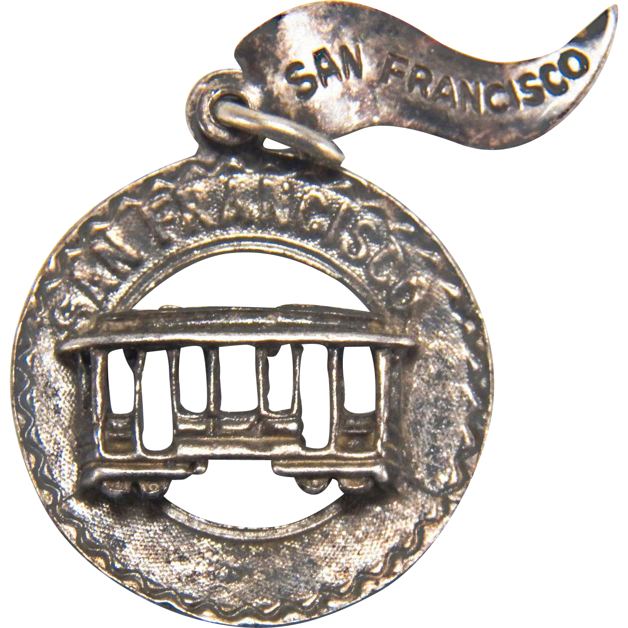 Vintage San Francisco Trolley Sterling Silver Charm