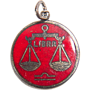 Cool Red Enamel Zodiac Libra Scales of Justice Charm