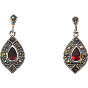 Vintage Sterling Silver Marcasite and Garnet Colored Glass Stone Dangle Earrings