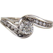 Vintage 0.66 TCW Diamond Bypass Style Engagement Ring In14K White Gold